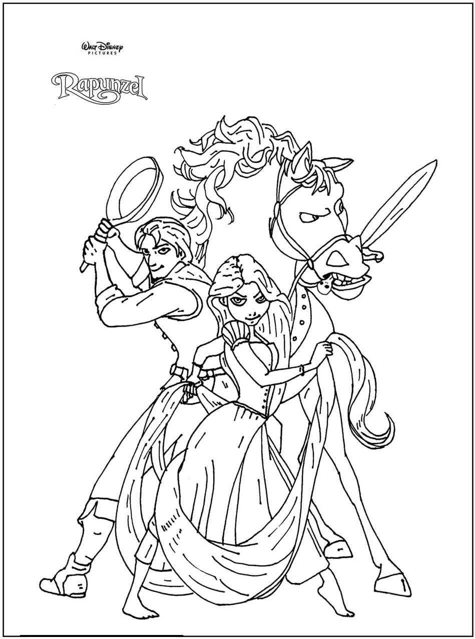 Rapunzel And Flynn Rider Coloring Pages Coloring Pages